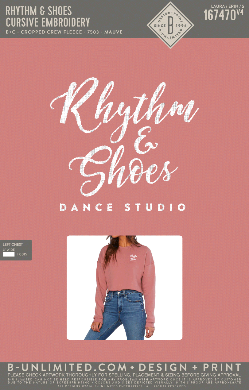 Rhythm & Shoes - Cursive Embroidery (Adult Cropped Sweatshirt)