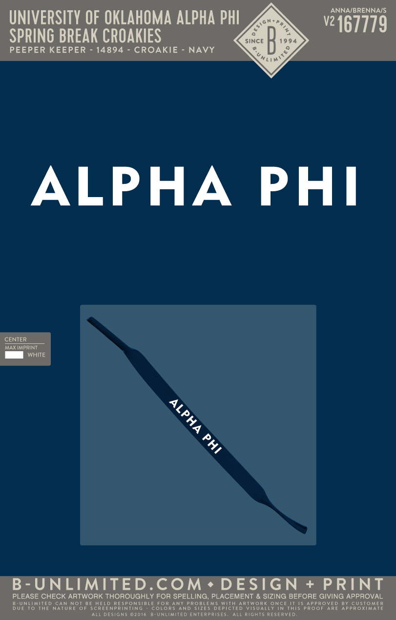 OU Alpha Phi - Spring Break Croakies (Navy)