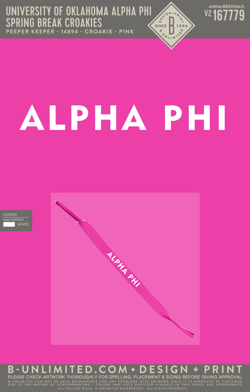 OU Alpha Phi - Spring Break Croakies (Pink)