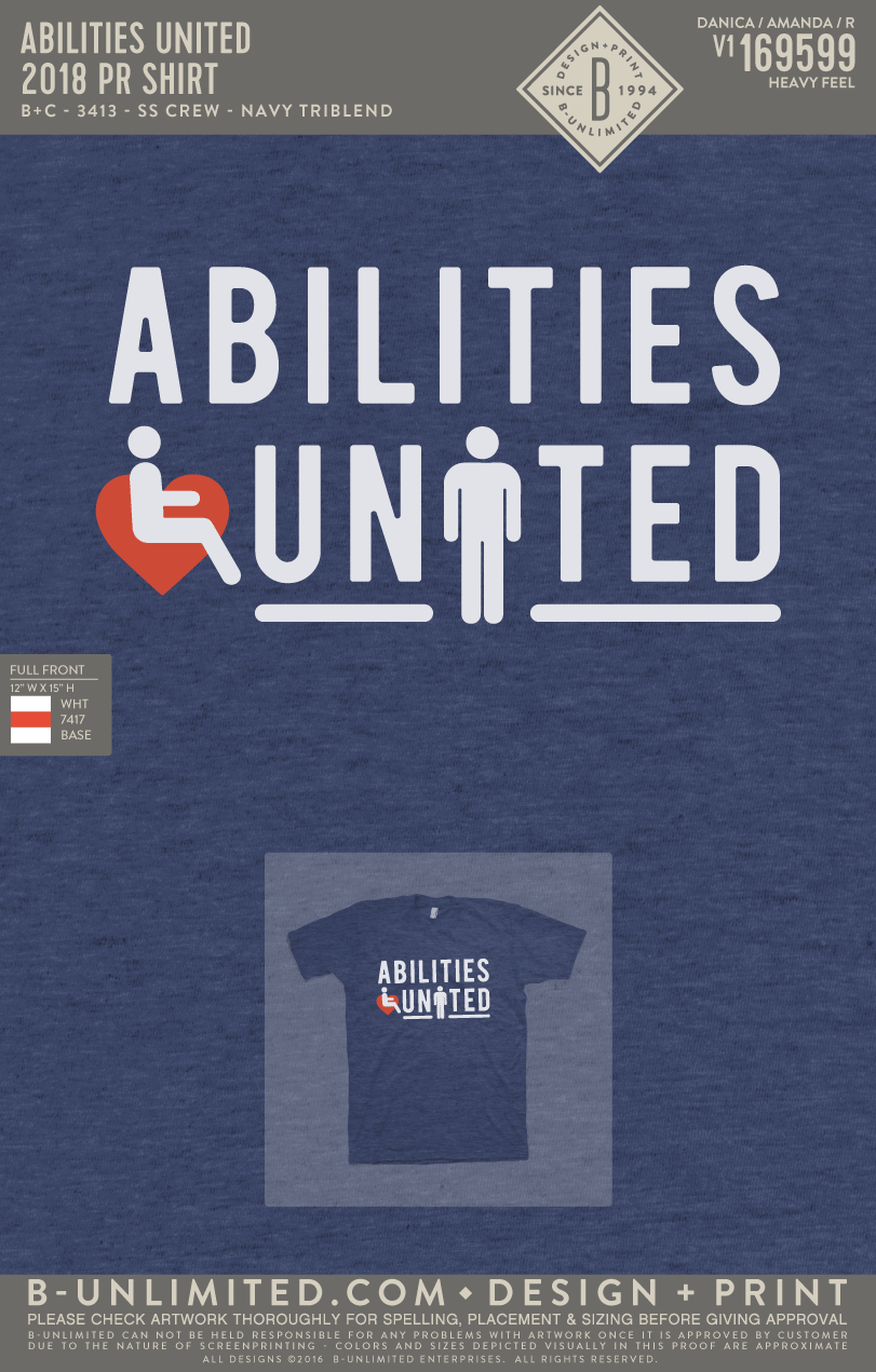 Abilities United - 2018 PR Shirt (Navy Triblend)