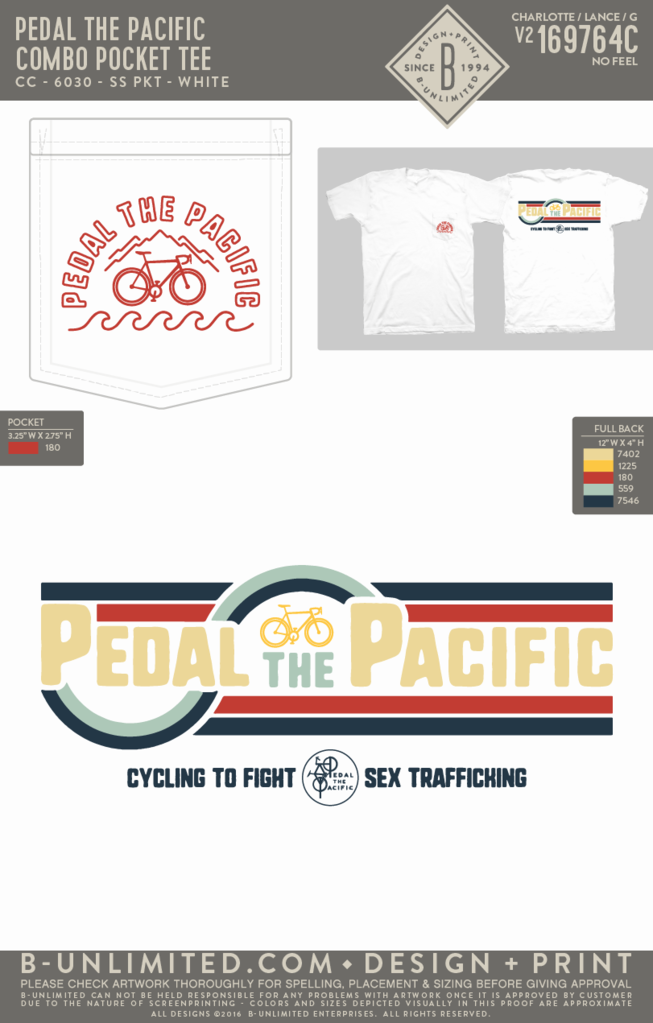 Pedal the Pacific - Combo Pocket Tee