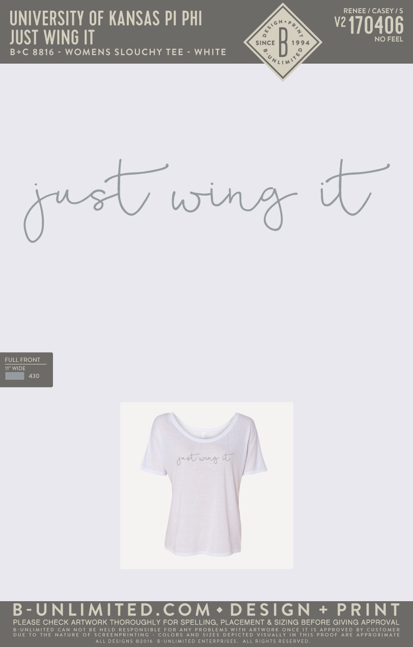 KU Pi Phi - Just Wing It (White)