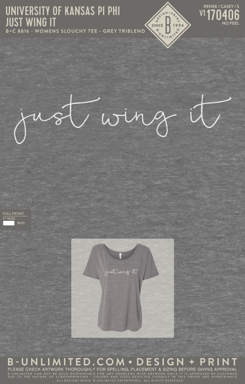 KU Pi Phi - Just Wing It (Grey Triblend)