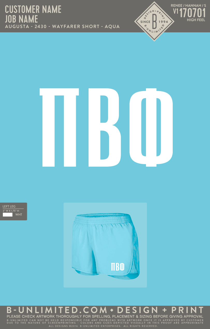 KU Pi Phi - Work Week Shorts (Aqua)