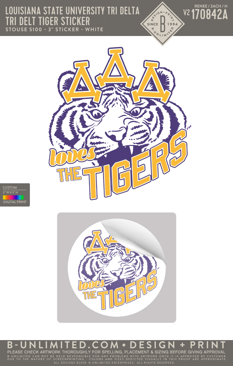 LSU Tri Delta - Tri Delt Tiger Button (Pack of 10)