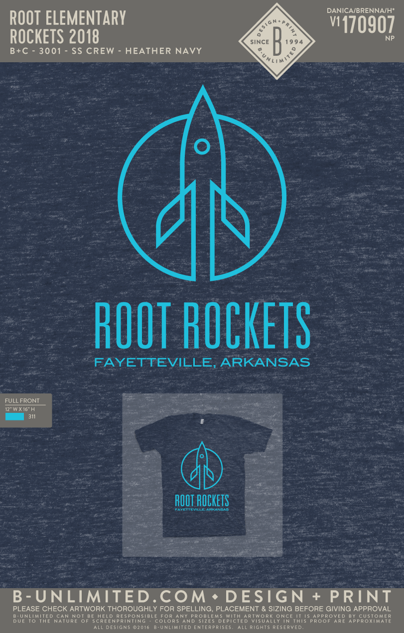 Root Elementary - Rockets 2018 (Adult Heather Navy)