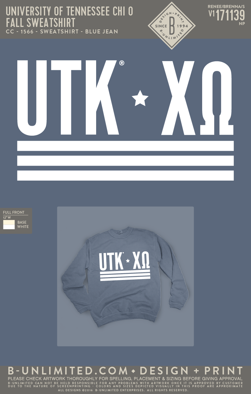 Tennessee Chi O - Fall Sweatshirt (Blue Jean)
