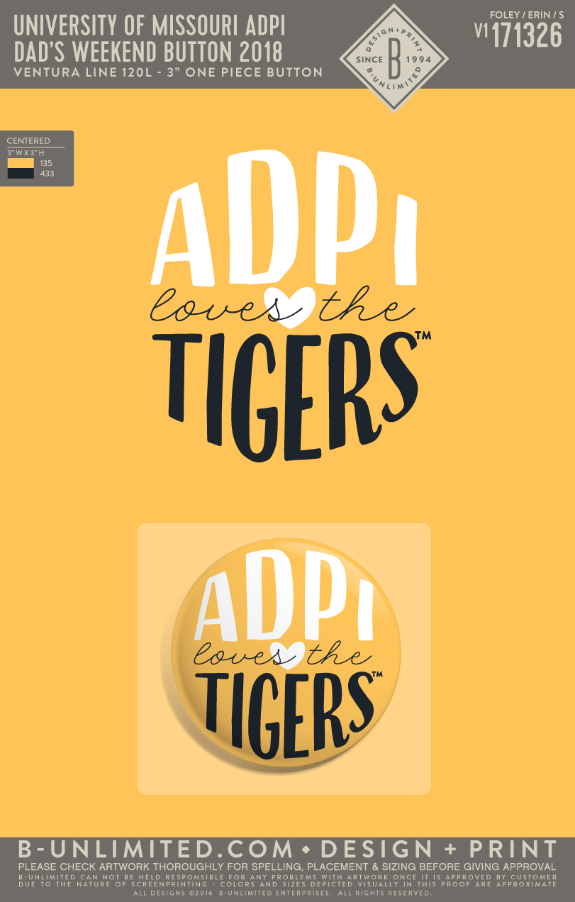 Mizzou ADPI - Dad's Weekend Button 2018