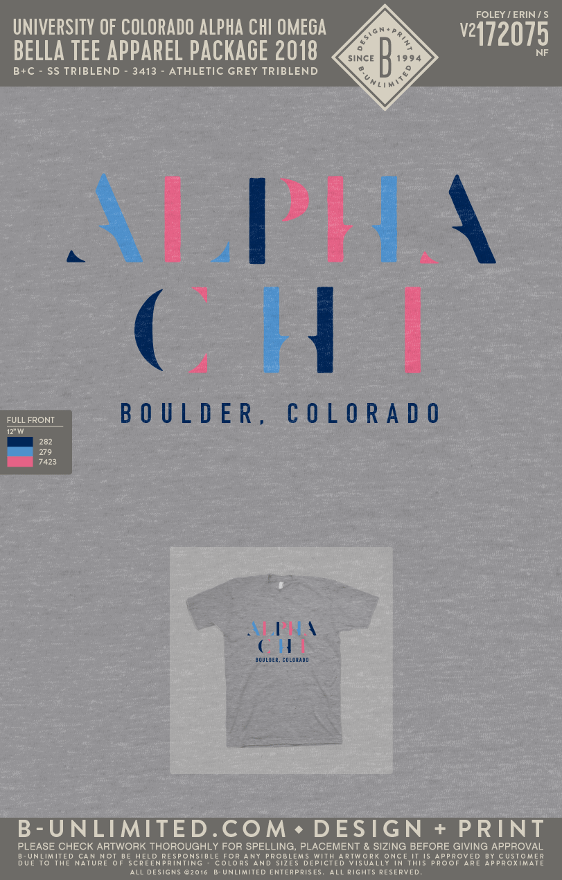 CU Alpha Chi Omega - Bella Tee Apparel Package 2018