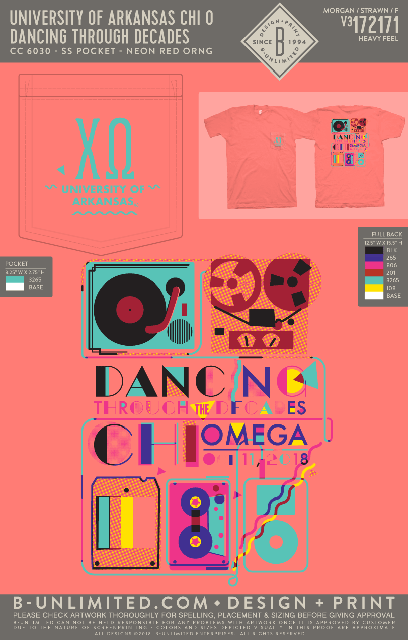 UofA Chi O - Dancing Through Decades (Neon Red Orange)