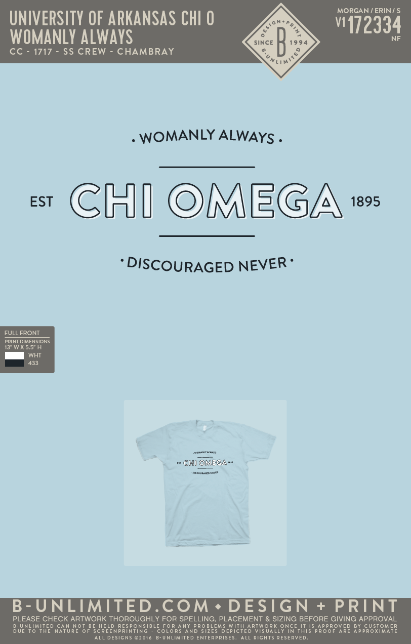 UofA Chi O - Womanly Always (Chambray)
