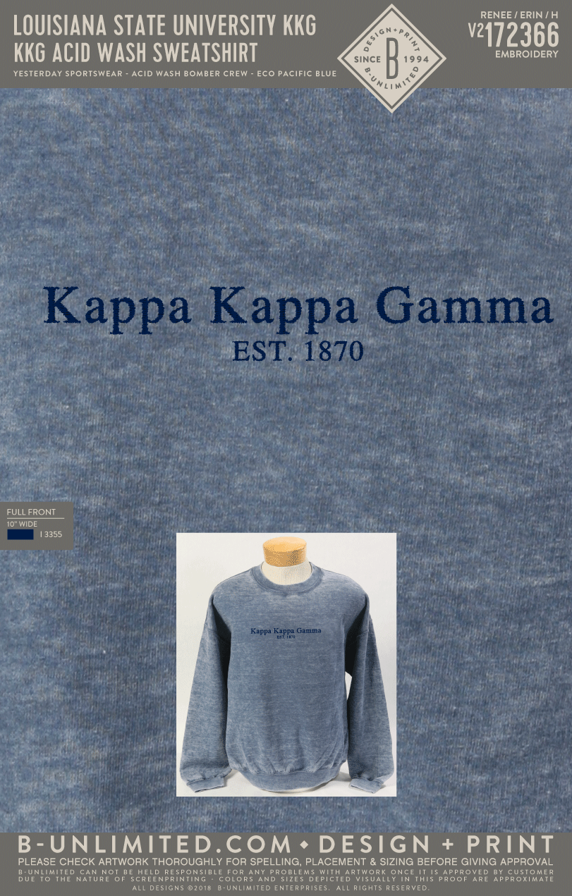 LSU KKG - KKG Acid Wash Sweatshirt