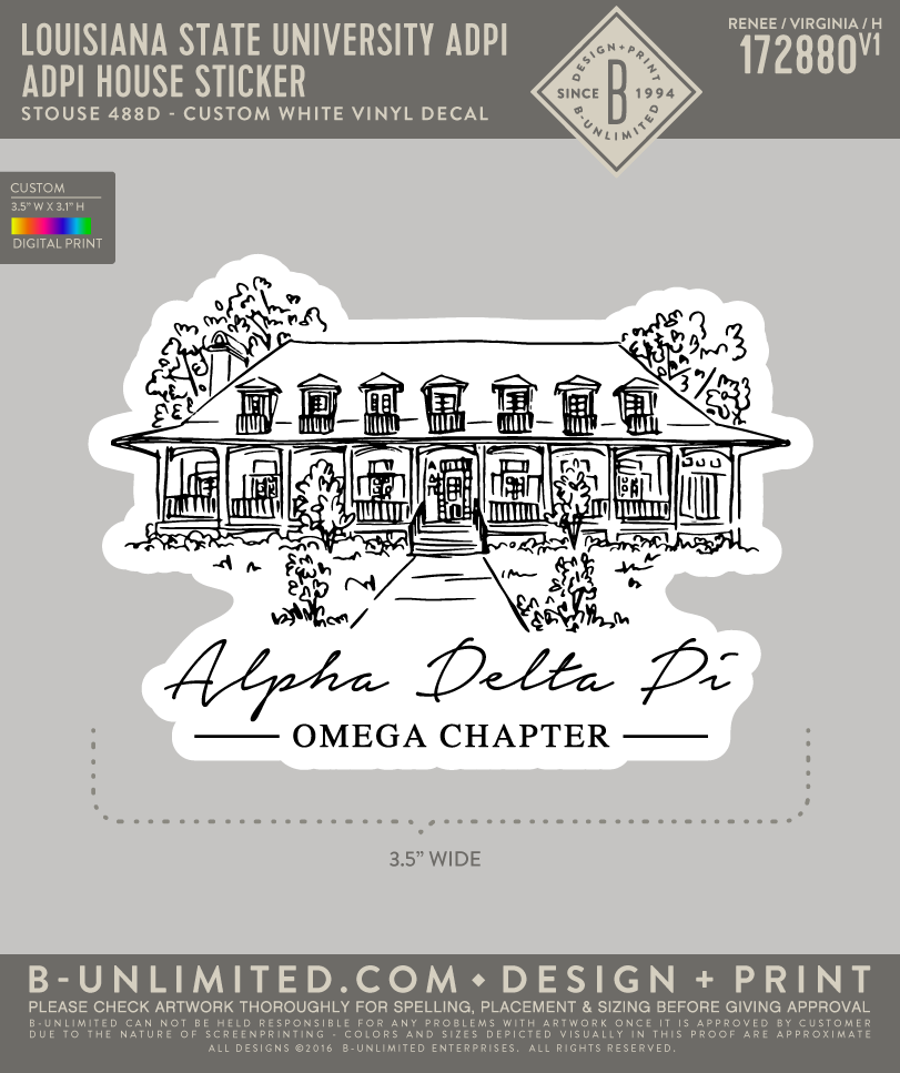 LSU ADPI - ADPI House Sticker