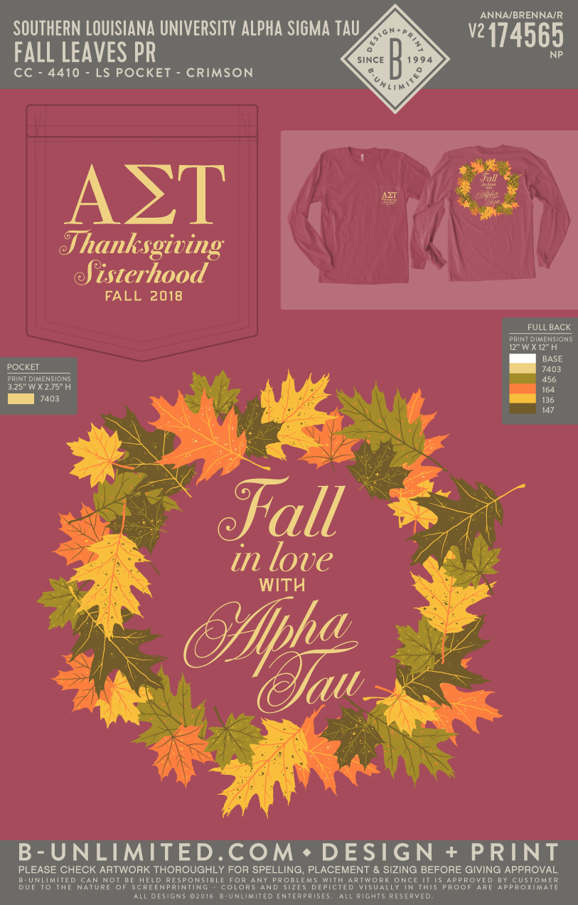 Southeastern Louisiana University Alpha Sigma Tau - Fall Leaves PR (LS)