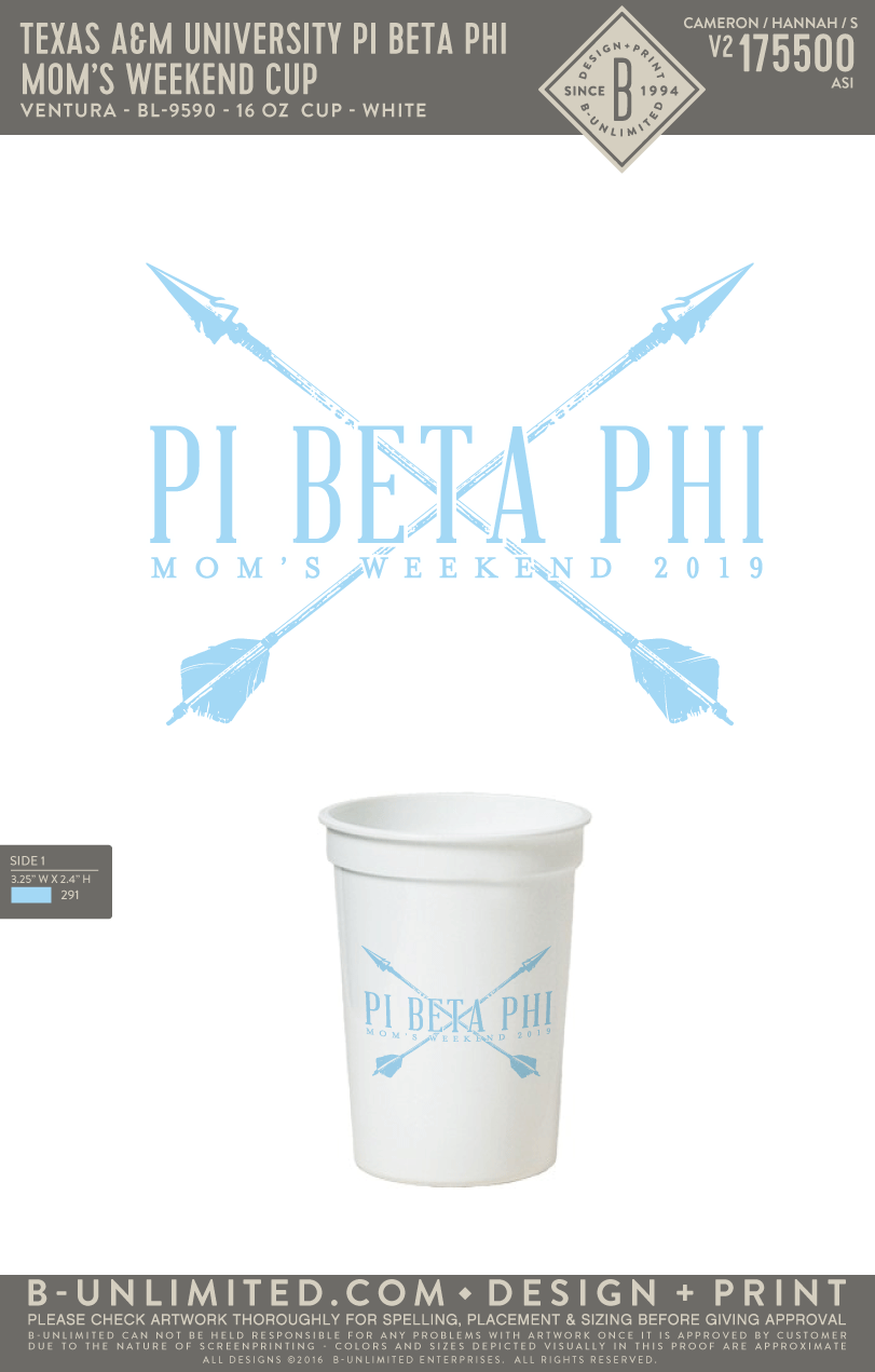 Texas A&M Pi Phi - Mom's Weekend Cup (Pack of 10)