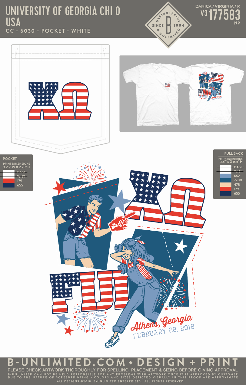 UGA Chi O - USA (White)