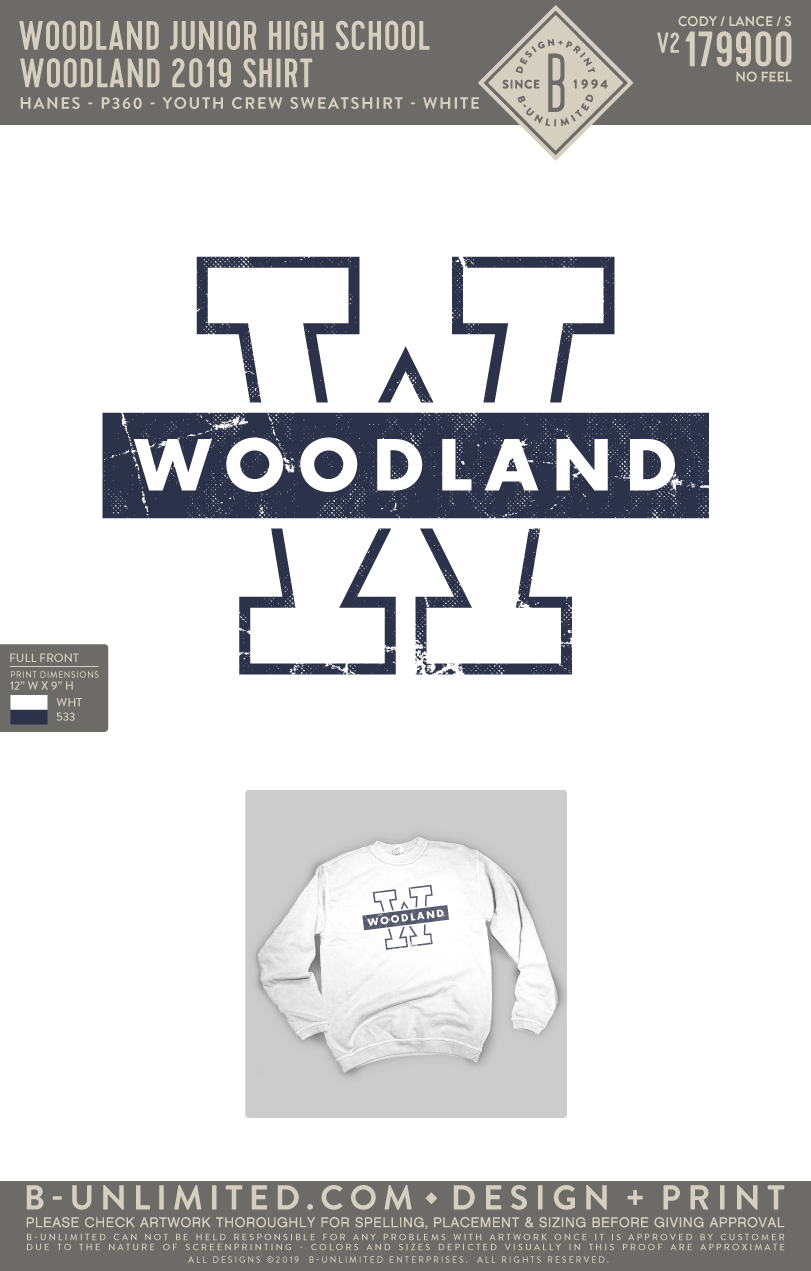 Woodland Junior High School - Woodland 2019 Shirt (Youth Pullover)