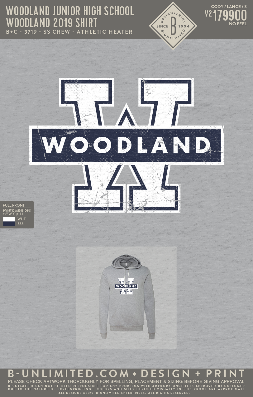 Woodland Junior High School - Woodland 2019 Shirt (Hoodie - Athletic Heather)