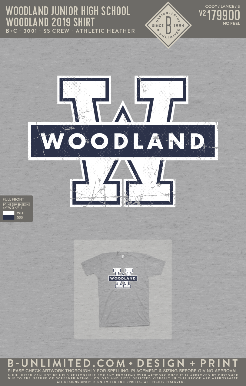 Woodland Junior High School - Woodland 2019 Shirt (Short Sleeve - Athletic Heather)