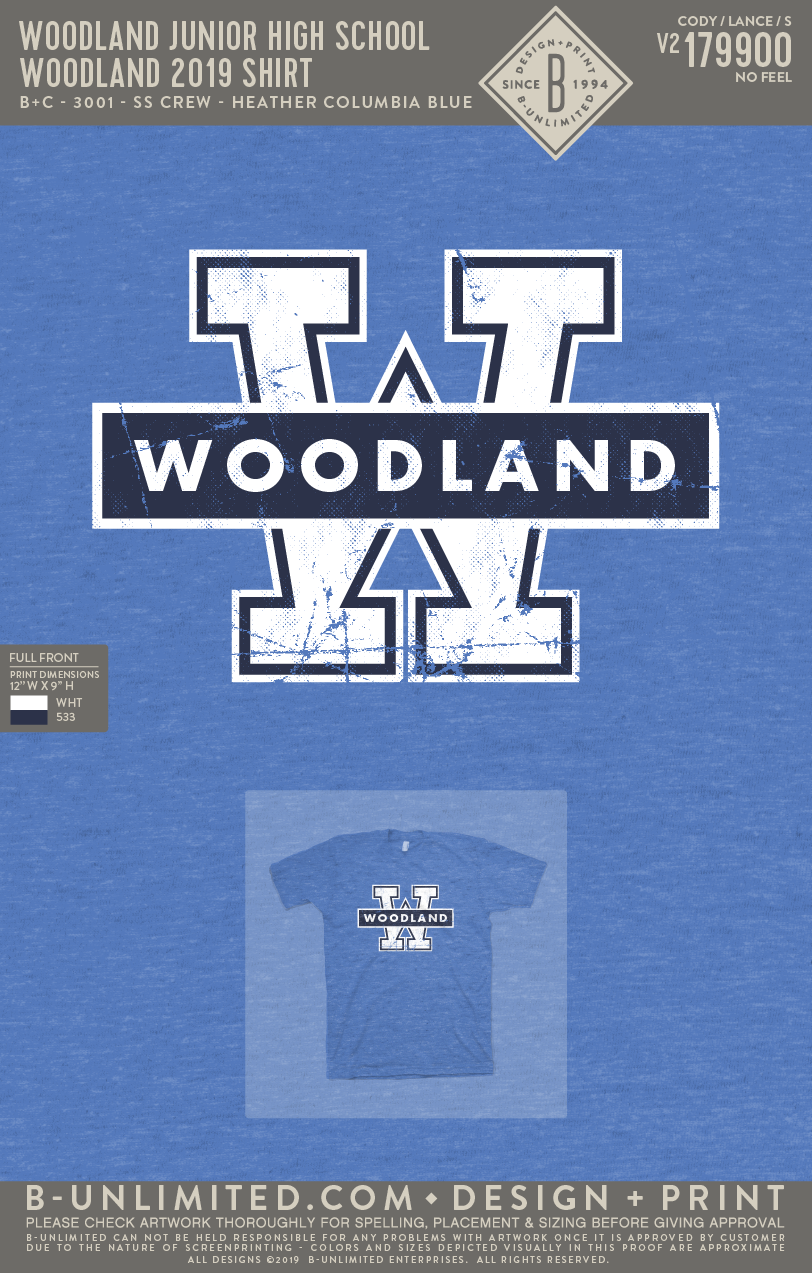 Woodland Junior High School - Woodland 2019 Shirt (Short Sleeve - Heather Columbia Blue)