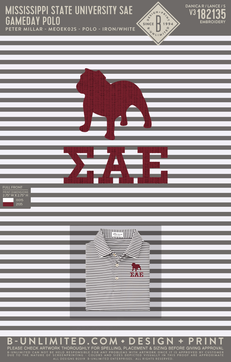 Miss State SAE - Gameday Polo (Stripe)