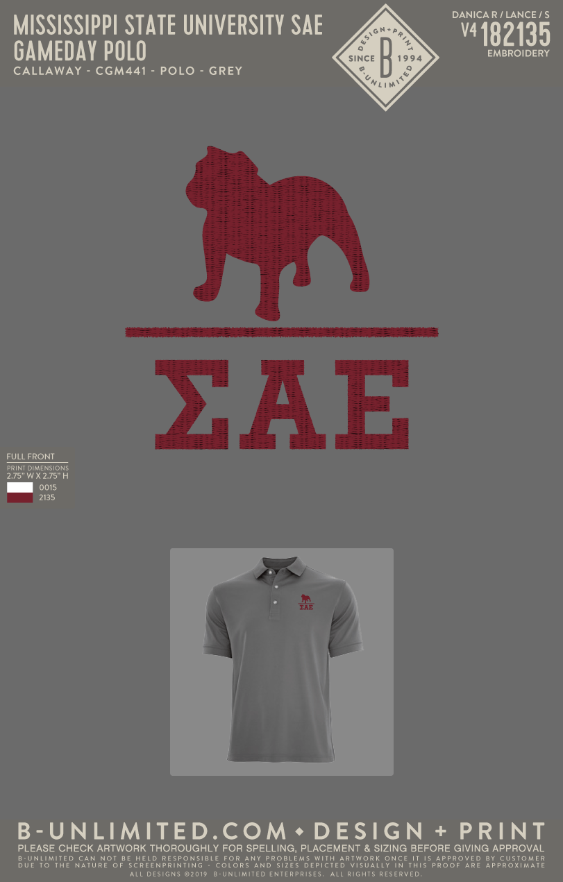 Miss State SAE - Gameday Polo (Grey)