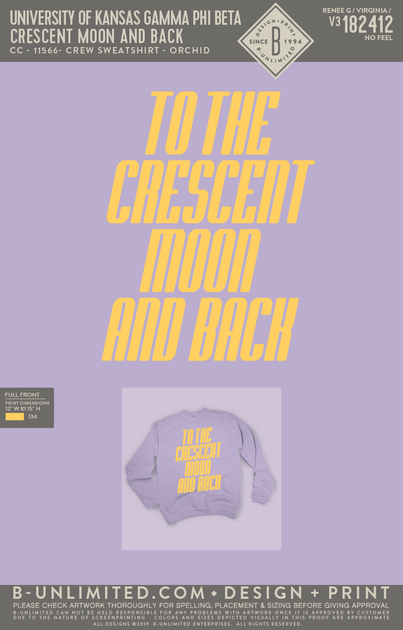 KU Gamma Phi Beta - Crescent Moon and Back (SWEATSHIRT)