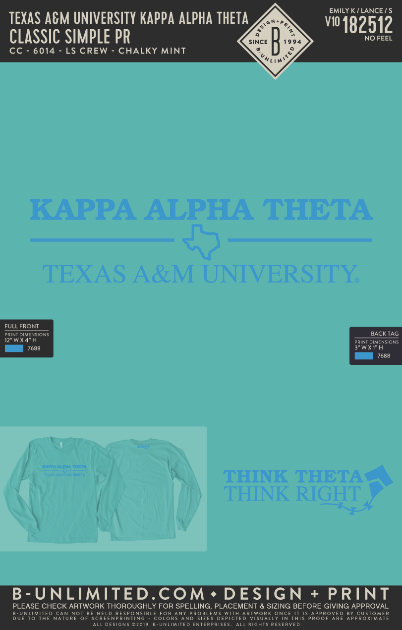 RO2 Texas A&M Theta - Classic Simple PR (Chalky Mint LS)