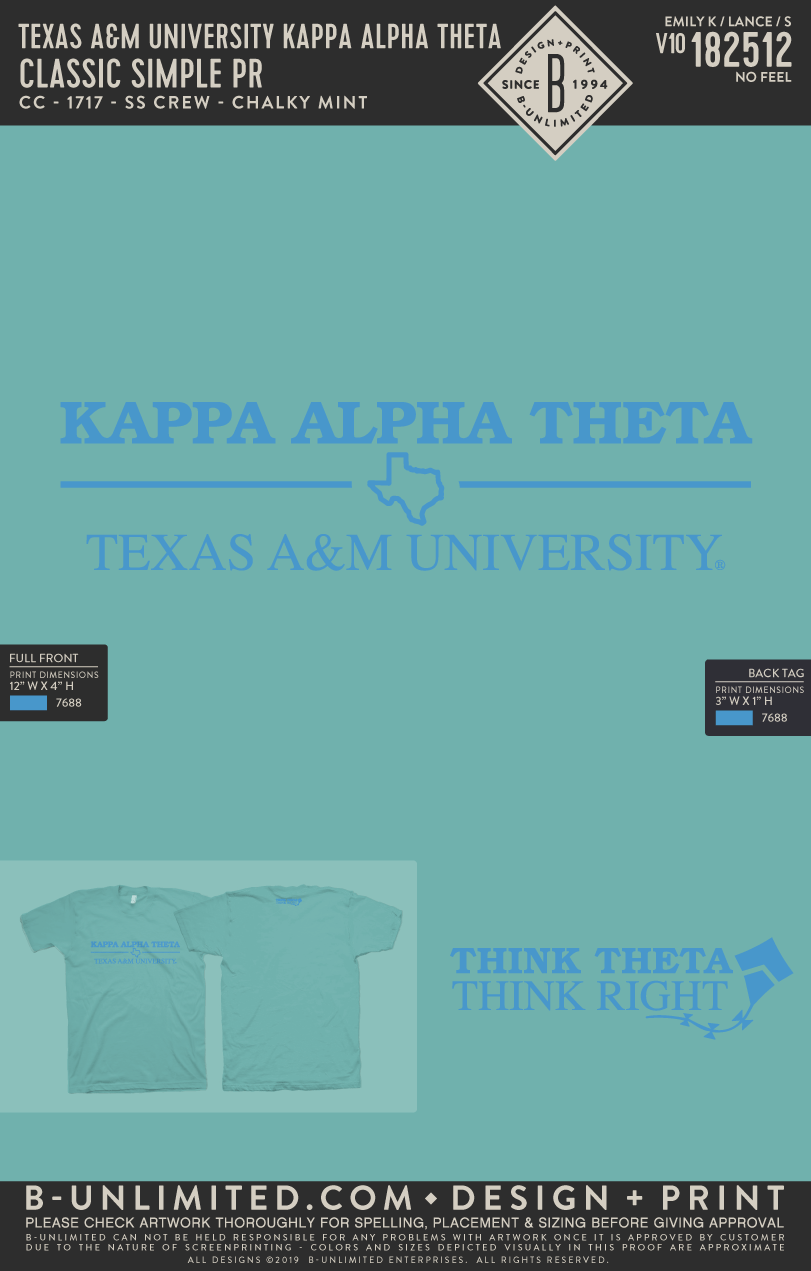 RO2 Texas A&M Theta - Classic Simple PR (Chalky Mint SS)