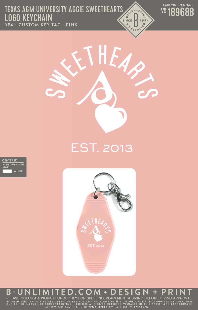 Texas A&M Aggie Sweethearts - Logo Keychain (Pink(