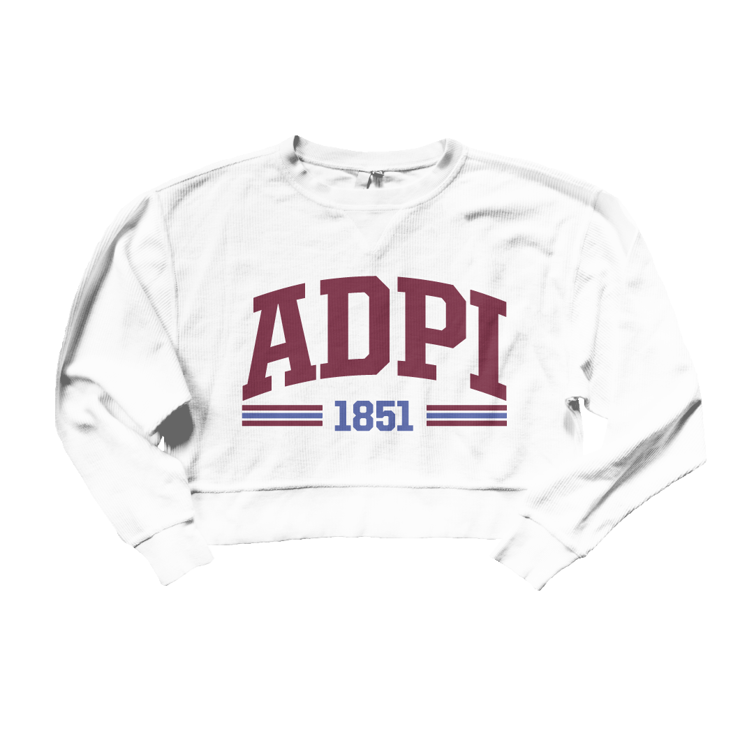 Red White and You Corded Sorority Crop Sweatshirt Alpha Delta Pi
