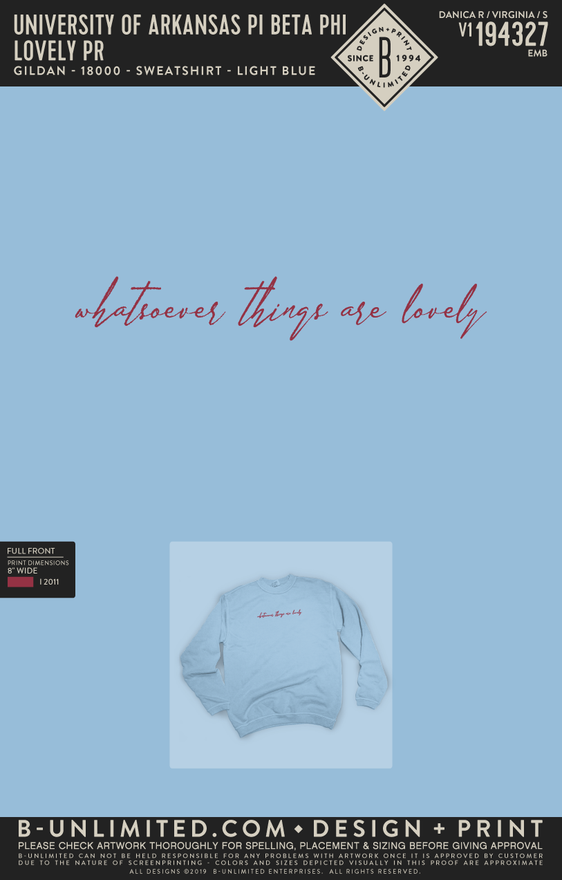 UofA Pi Phi - Lovely (Light Blue Crewneck)