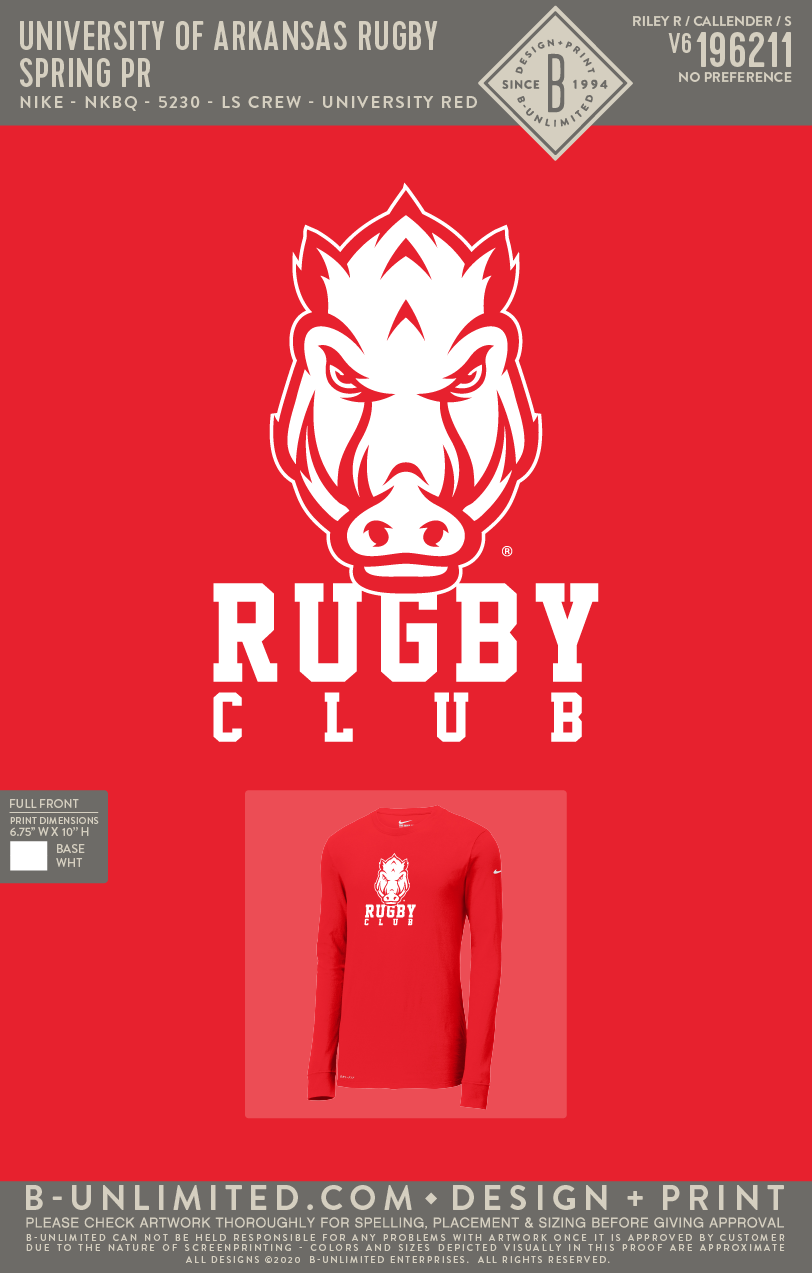 UofA Rugby - Spring PR (LS Red Nike Dri Fit)