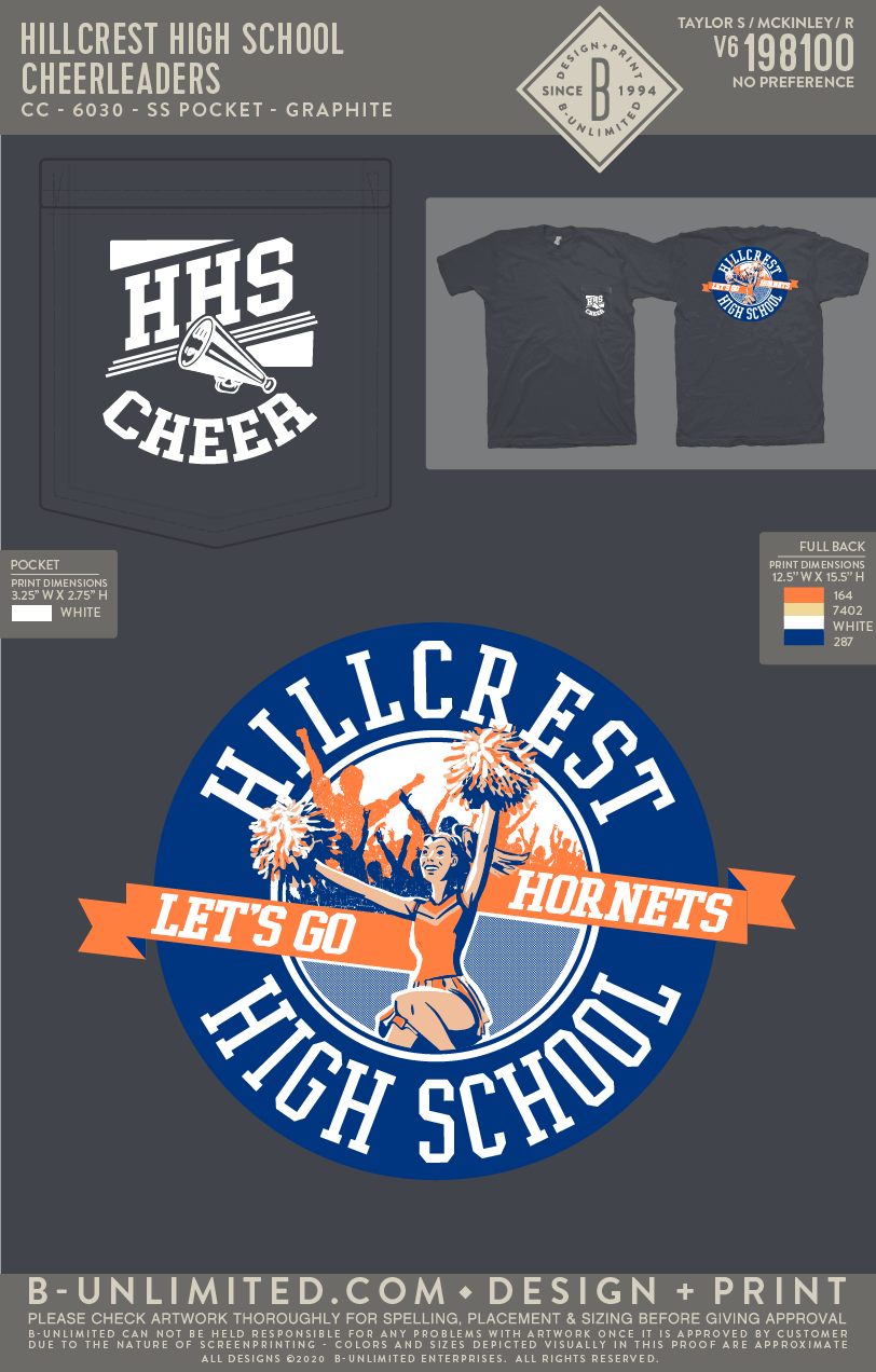 Hillcrest High School - Cheerleaders (Short Sleeve Graphite)