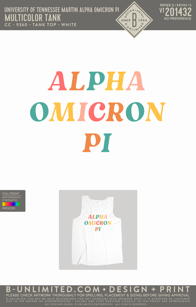 Tennessee Martin AOII - Multicolor Tank