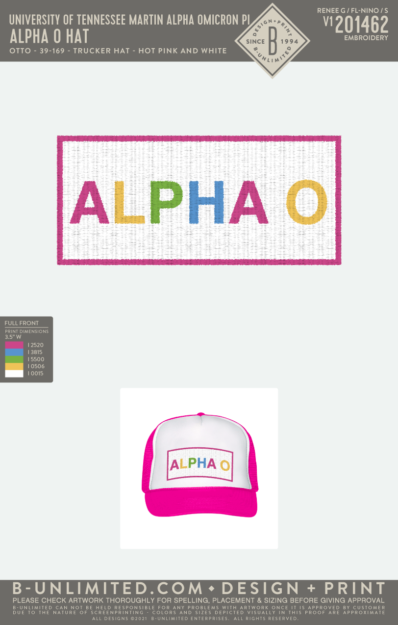 Tennessee Martin AOII - Alpha O Hat (Hot Pink/White)