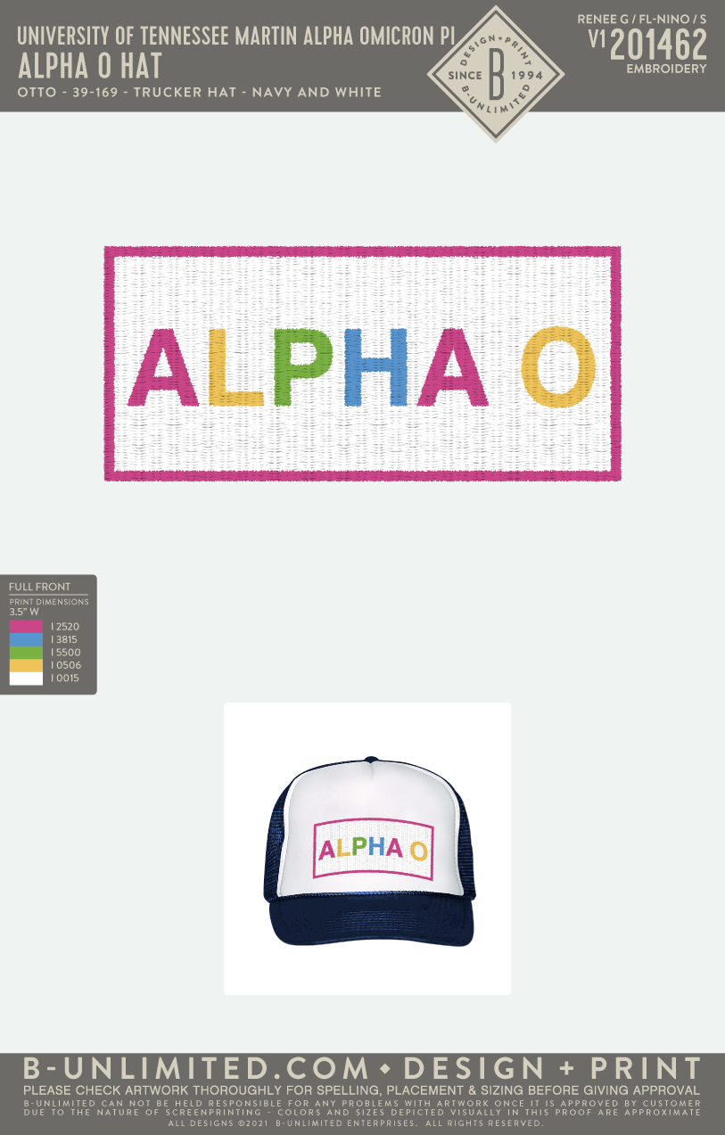 Tennessee Martin AOII - Alpha O Hat (Navy/White)