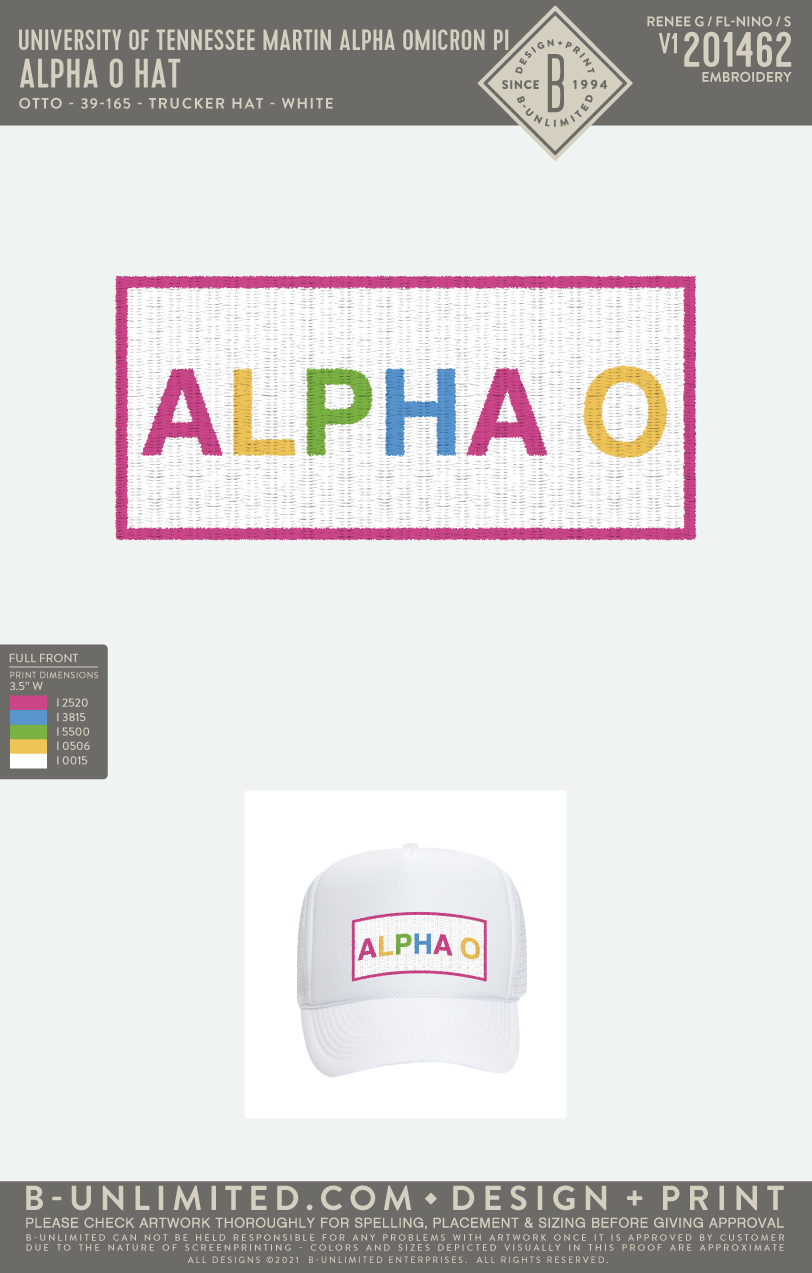 Tennessee Martin AOII - Alpha O Hat (White)