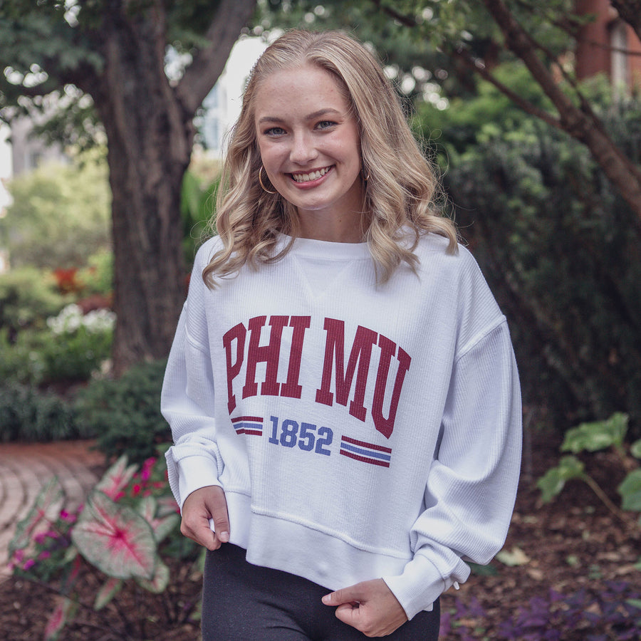Red White and You Corded Sorority Crop Sweatshirt Phi Mu