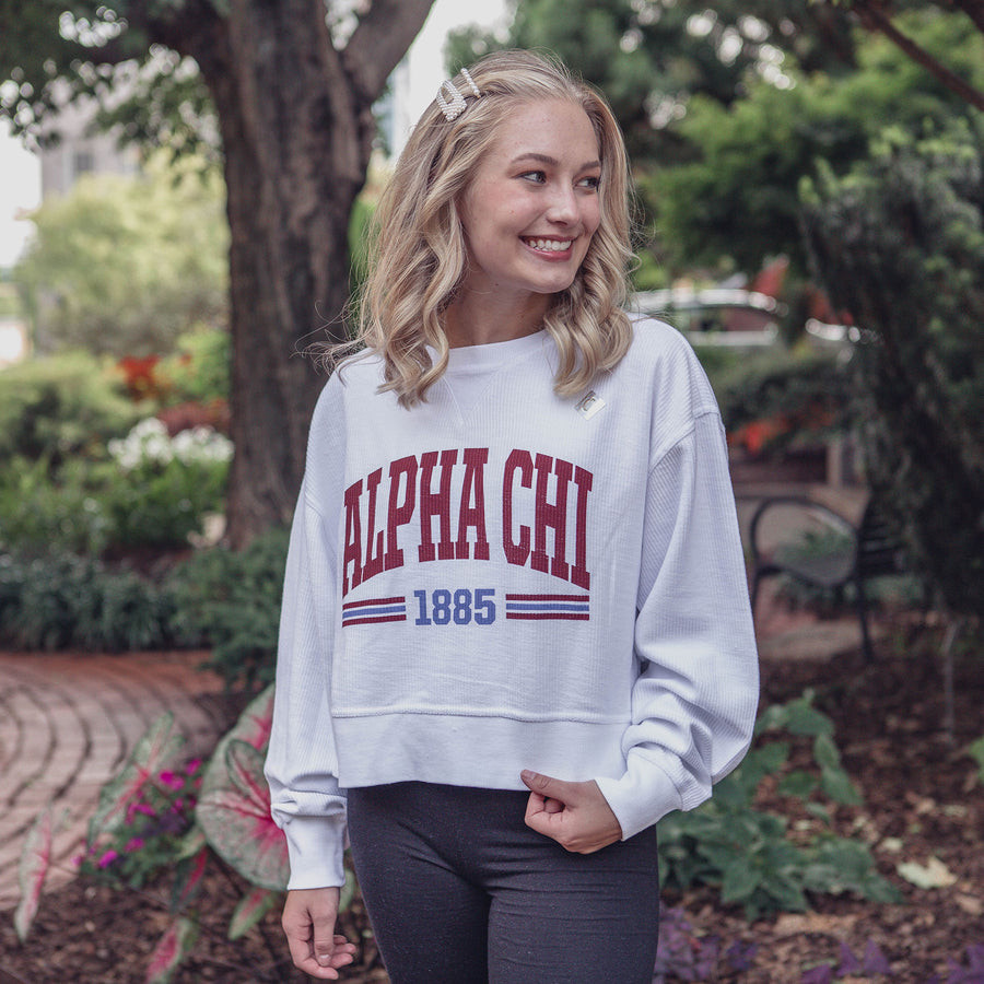 Red White and You Corded Sorority Crop Sweatshirt Alpha Chi Omega
