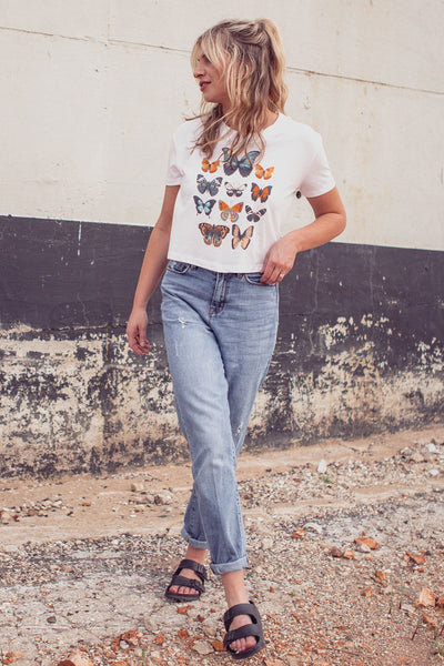 Beautiful Butterfly Crop T-Shirt