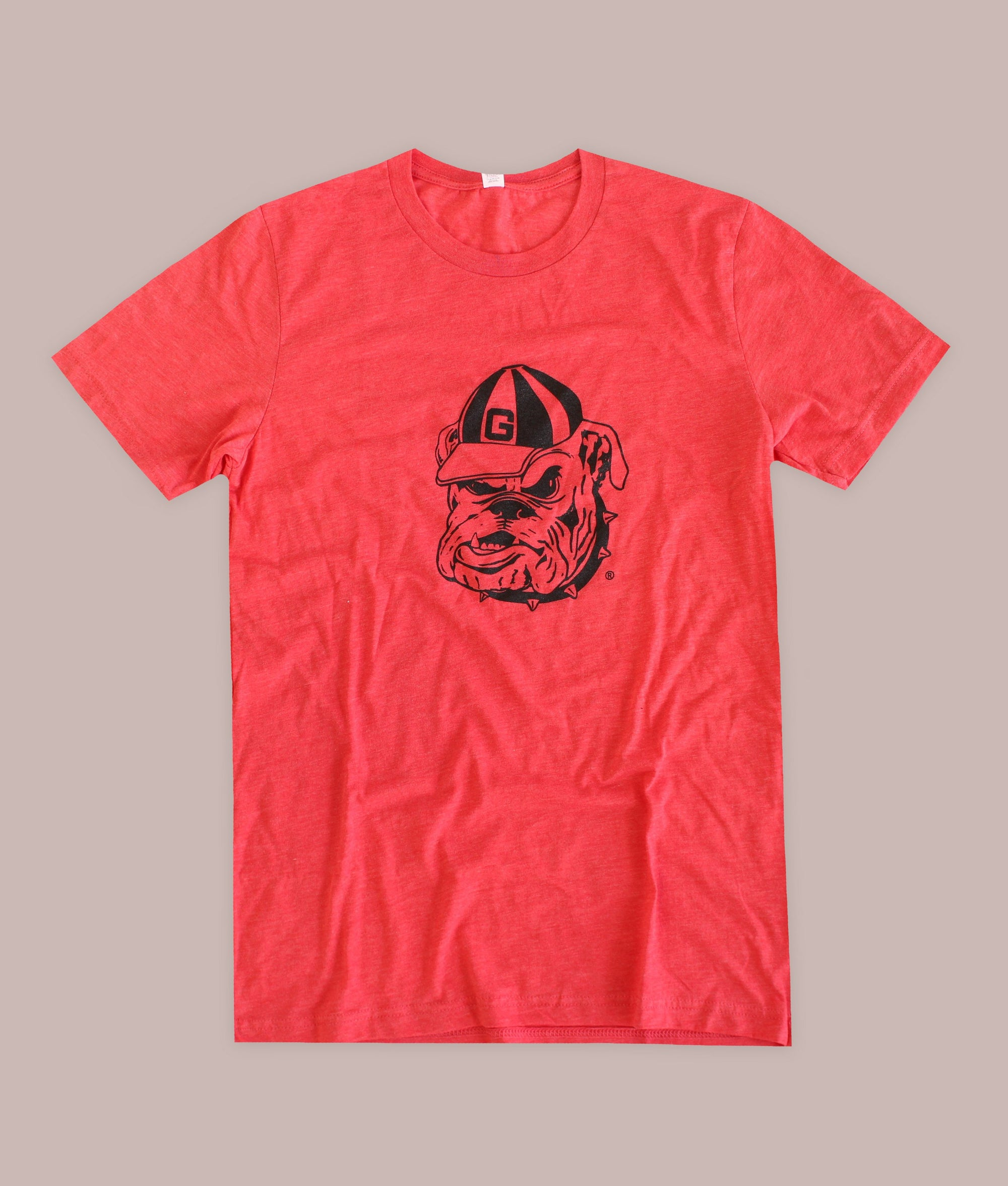 Bulldog Head Outline Red