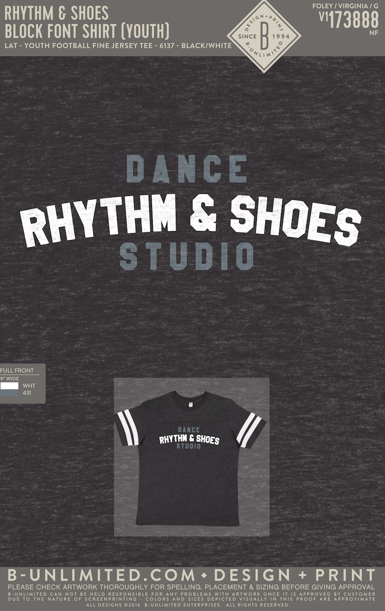 Rhythm & Shoes - Block Font Shirt (YOUTH Football Tee)