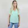 Model wearing Bella Canvas 8816 Women's Slouchy T-Shirt