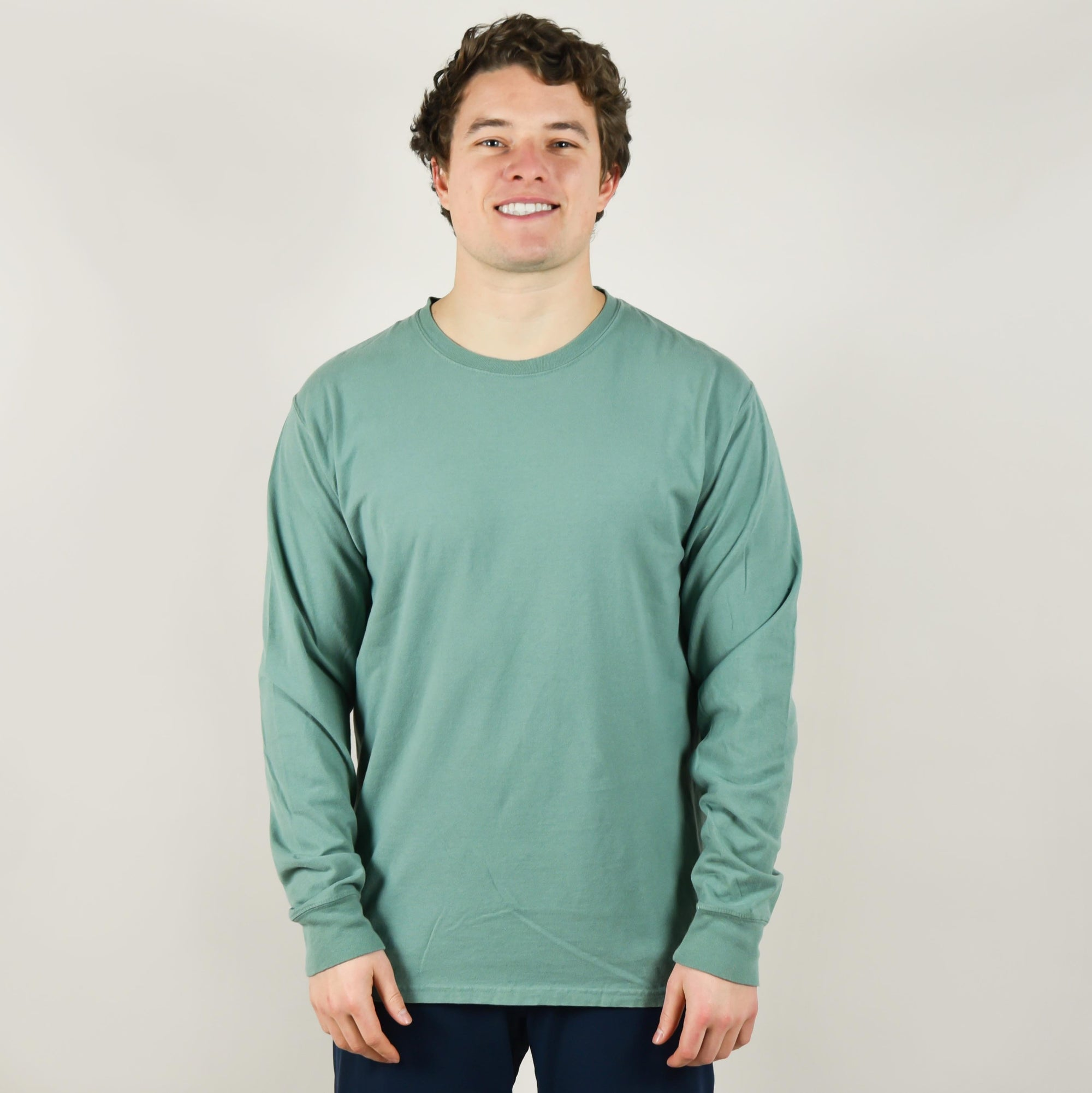 Model wearing Comfort Wash GDH200 Long Sleeve Crew Neck