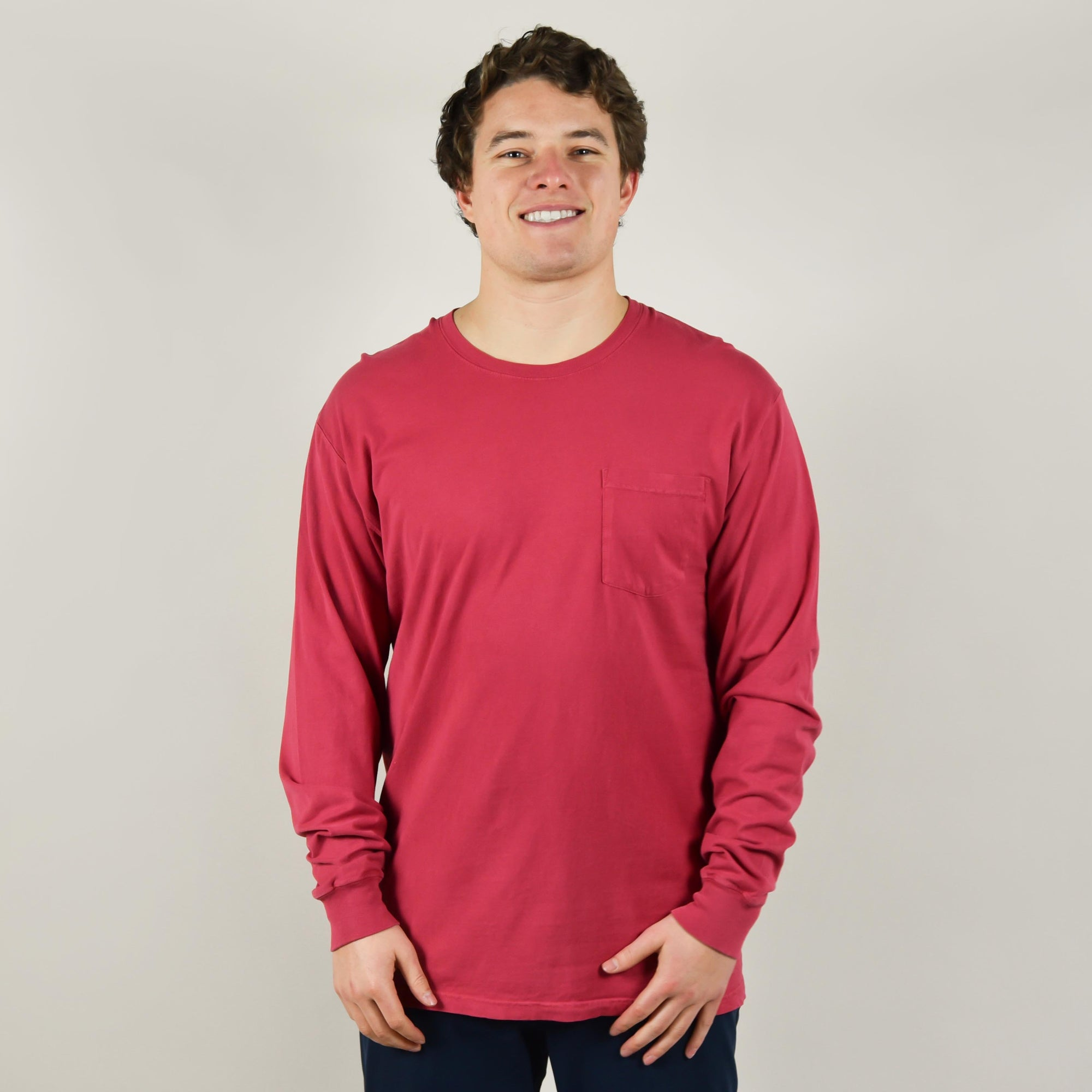 Model wearing Comfort Wash GDH250 Long Sleeve Pocket T-Shirt