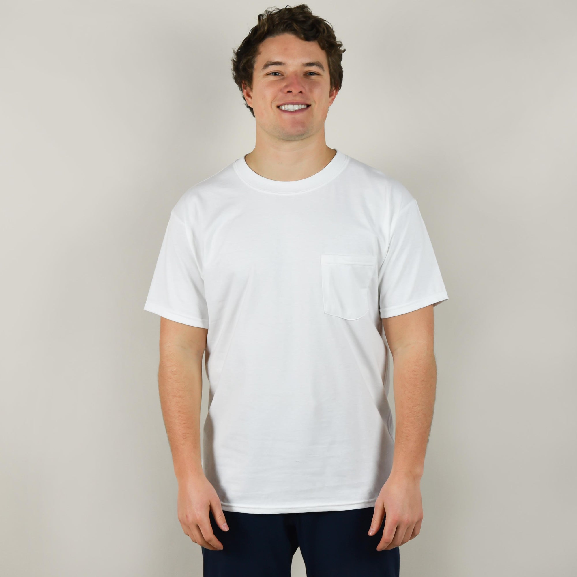 Model wearing Hanes 5190P Beefy Tee with Pocket