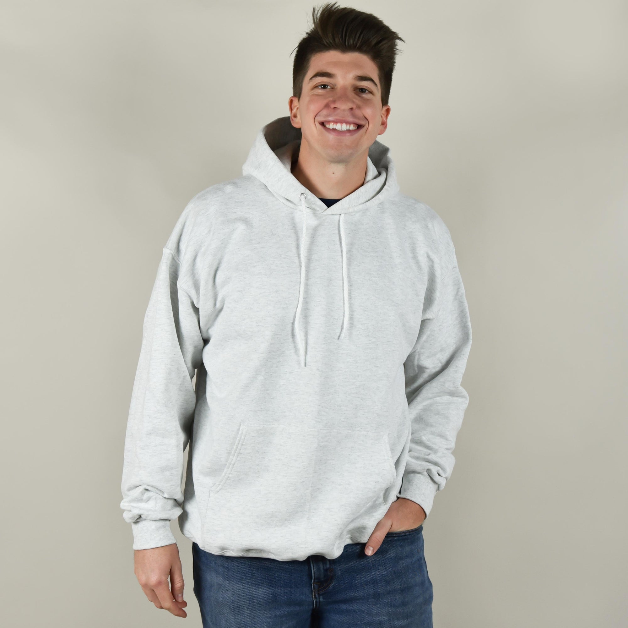Model wearing Hanes F170 Hooded Sweatshirt