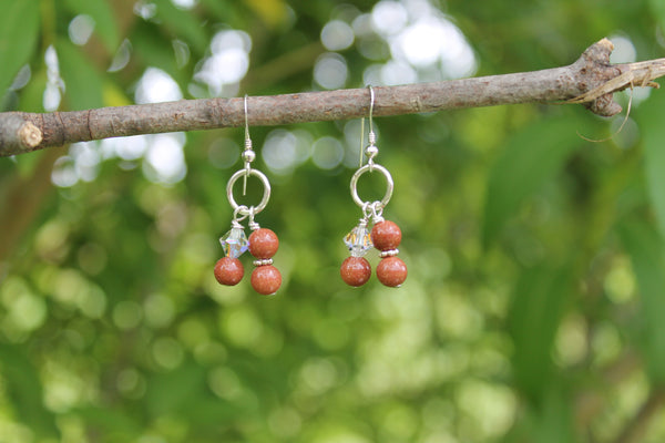 Clearance - Brown Goldstone Earrings