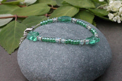 Clearance - Single strand glass bead bracelet 12
